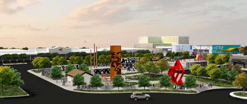 Rendering of future plans for the Reuse Arts District